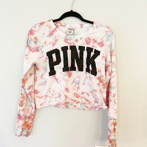 PINK Pink & Blue tie-dyed long sleeve crop top (S)